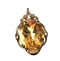 9CT GOLD CITRINE PENDANT at Ross's Jewellery Auctions