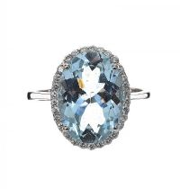18CT WHITE GOLD AQUAMARINE AND DIAMOND RING at Ross's Jewellery Auctions