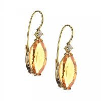 18CT GOLD CITRINE AND DIAMOND DROP EARRINGS at Ross's Jewellery Auctions