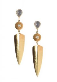 18CT GOLD MOONSTONE AND DIAMOND DROP EARRINGS at Ross's Jewellery Auctions