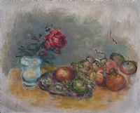 STILL LIFE, ROSE, ORANGE & GRAPES by Stella Steyn at Ross's Auctions