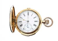 18CT GOLD STOP WATCH QUARTERLY REPEATER POCKET WATCH at Ross's Jewellery Auctions