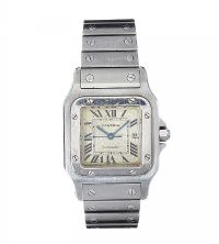 CARTIER 'SANTOS GALBEE' STAINLESS STEEL UNISEX WRIST WATCH at Ross's Auctions