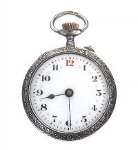 ENGRAVED SILVER POCKET WATCH at Ross's Online Art Auctions
