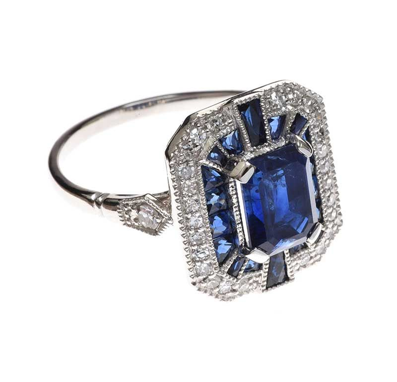 PLATINUM ART DECO STYLE SAPPHIRE AND DIAMOND RING at Ross's Online Art Auctions