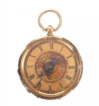 18CT GOLD ENGRAVED FOB WATCH at Ross's Jewellery Auctions