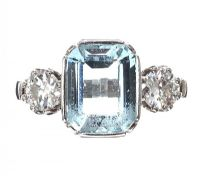 18CT WHITE GOLD AQUAMARINE AND DIAMOND THREE STONE RING at Ross's Jewellery Auctions