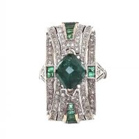 18CT WHITE GOLD COCKTAIL RING SET WITH EMERALD AND DIAMOND at Ross's Auctions