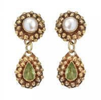 9CT GOLD PERIDOT AND PEARL DROP EARRINGS at Ross's Jewellery Auctions