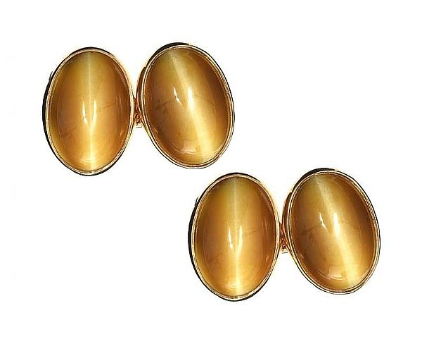9CT GOLD TIGER'S EYE CUFFLINKS at Ross's Online Art Auctions