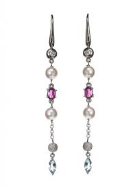18CT WHITE GOLD DIAMOND, AQUAMARINE, PEARL AND PINK SAPPHIRE EARRINGS at Ross's Jewellery Auctions