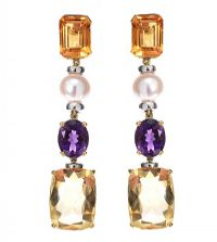 18CT GOLD CITRINE, AMETHYST AND PEARL DROP EARRINGS at Ross's Jewellery Auctions