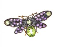 SILVER GILT PERIDOT, AMETHYST AND DIAMOND BROOCH at Ross's Jewellery Auctions