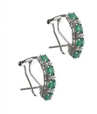 9CT WHITE GOLD EMERALD AND DIAMOND EARRINGS at Ross's Jewellery Auctions