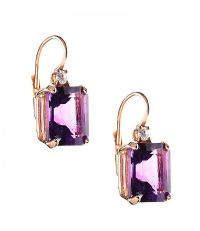 18CT ROSE GOLD AMETHYST AND DIAMOND EARRINGS at Ross's Jewellery Auctions