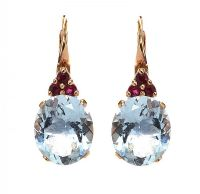 18CT ROSE GOLD AQUAMARINE AND RUBY EARRINGS at Ross's Jewellery Auctions