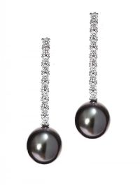 18CT WHITE GOLD DIAMOND AND TAHITIAN PEARL DROP EARRINGS at Ross's Jewellery Auctions
