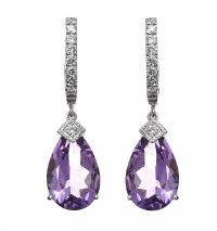 18CT WHITE GOLD AMETHYST AND DIAMOND EARRINGS at Ross's Jewellery Auctions