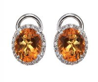 18CT WHITE GOLD CITRINE AND DIAMOND CLUSTER EARRINGS at Ross's Jewellery Auctions