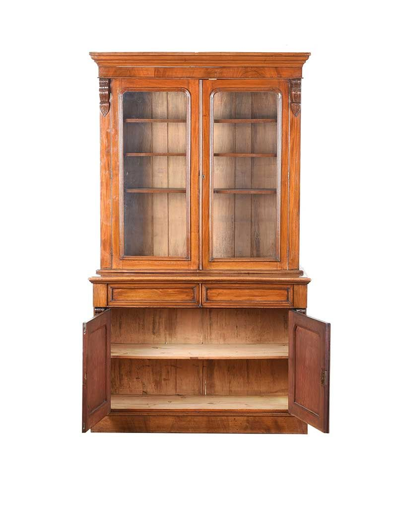 VICTORIAN MAHOGANY TWO DOOR BOOKCASE at Ross's Online Art Auctions