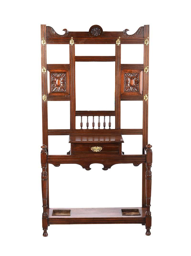EDWARDIAN MAHOGANY HALL STAND at Ross's Online Art Auctions
