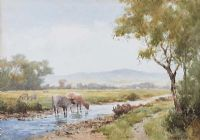 CATTLE WATERING IN A RIVER by James Aitken at Ross's Auctions