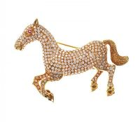 18CT GOLD DIAMOND AND RUBY SET HORSE BROOCH