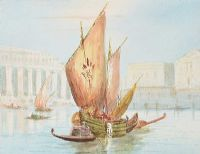 FISHING BOATS ON THE GRAND CANAL by Italian School at Ross's Auctions