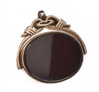 9CT GOLD CARNELIAN AND BLOODSTONE FOB at Ross's Jewellery Auctions