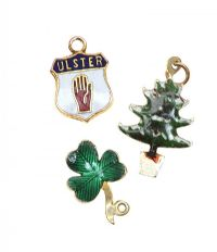 THREE 9CT GOLD ENAMEL CHARMS at Ross's Jewellery Auctions