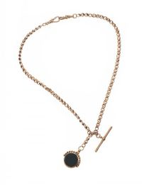 9CT GOLD ALBERT CHAIN WITH CARNELIAN AND BLOODSTONE FOB at Ross's Jewellery Auctions