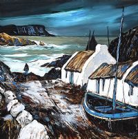 SALMON COTTAGE, TORR HEAD, NORTH ANTRIM by J.P. Rooney at Ross's Auctions