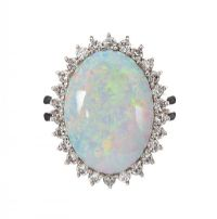 18CT WHITE GOLD OPAL AND DIAMOND CLUSTER RING at Ross's Jewellery Auctions