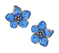 STERLING SILVER FLORAL ENAMEL EARRINGS at Ross's Jewellery Auctions