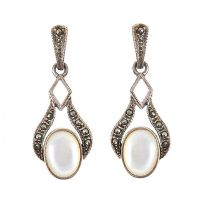 STERLING SILVER MOONSTONE, MARCASITE AND ONYX EARRINGS at Ross's Jewellery Auctions