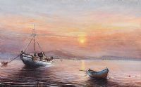FISHING BOATS NEAR NAXOS, GREECE by Gordon Lees at Ross's Auctions