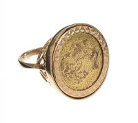 9CT GOLD MOUNTED METAL COIN RING at Ross's Jewellery Auctions