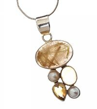 STERLING SILVER CITRINE, PEARL, AND ANGELS HAIR NECKLACE at Ross's Jewellery Auctions