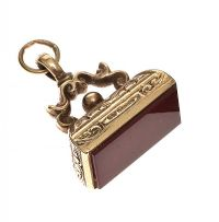 9CT GOLD CARNELIAN FOB at Ross's Jewellery Auctions