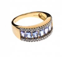 9CT GOLD TANZANITE AND DIAMOND RING at Ross's Jewellery Auctions