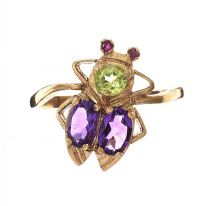 9CT GOLD AMETHYST AND PERIDOT RING at Ross's Jewellery Auctions