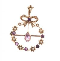ANTIQUE 9CT GOLD SEED PEARL AND AMETHYST BROOCH/PENDANT at Ross's Jewellery Auctions