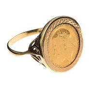 9CT GOLD MOUNTED HALF SOVEREIGN RING at Ross's Jewellery Auctions
