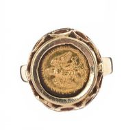 9CT GOLD MOUNTED COIN RING at Ross's Jewellery Auctions