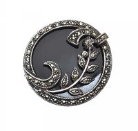STERLING SILVER ONYX AND MARCASITE BROOCH at Ross's Jewellery Auctions