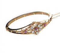 9CT GOLD OPAL AND RUBY BANGLE at Ross's Jewellery Auctions