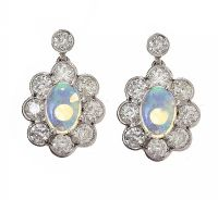 18CT WHITE GOLD OPAL AND DIAMOND CLUSTER EARRINGS at Ross's Jewellery Auctions