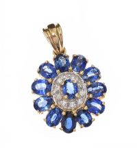 9CT GOLD TANZANITE AND DIAMOND PENDANT at Ross's Jewellery Auctions