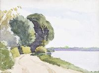 ROAD BY THE LOUGH by John Luke RUA at Ross's Auctions