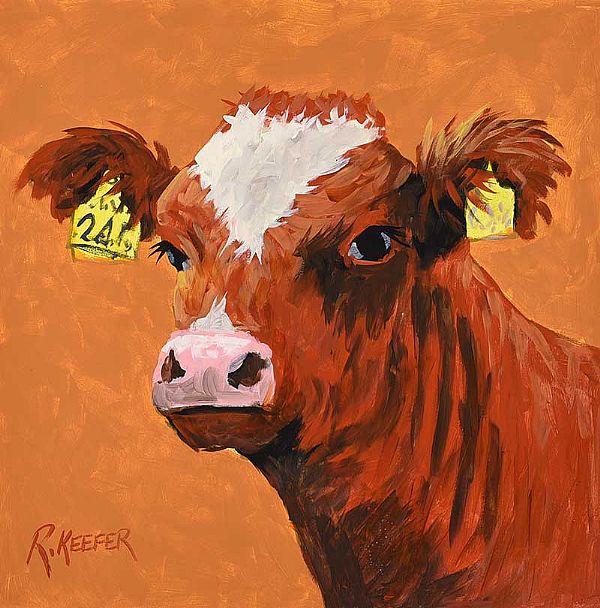 COW ON BROWN by Ronald Keefer at Ross's Online Art Auctions